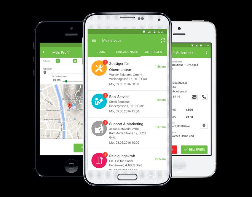 JobCheck Jobs App für Teilzeitjobs Kurzzeit Minijobs